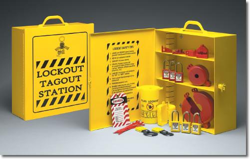 Safe Guard Signs: Lockout Tagout Station